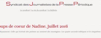 Article de presse : les coups de coeur de Nadine